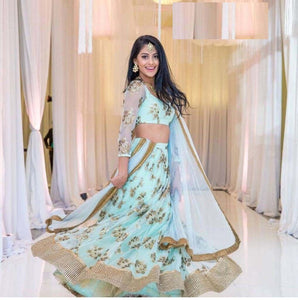 Wedding Wear Designer Sky Blue Color Embroidered Semi Stitched Lahenga Choli