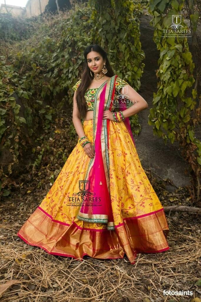 Charming Yallow Color Embroidered Semi Stitched Lahenga Choli