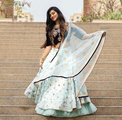 New Look Off White Color Embroidered Semi Stitched Lahenga Choli