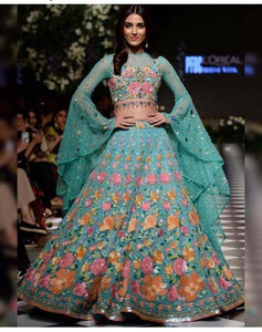 Awsome Multi Color Embroidered Semi Stitched Lahenga Choli