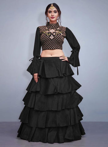 Awsome Party Wear Black Color Embroidered Semi Stitched Lahenga Choli