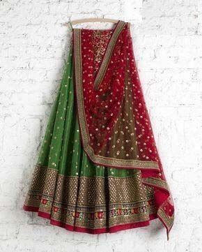 Wedding Party Wear Green Color Embroidered Semi Stitched Lahenga Choli