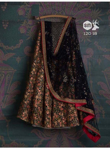 Beautiful Multi Color Embroidered Semi Stitched Lahenga Choli