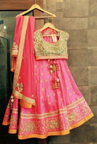Awsome Pink Color Embroidered Semi Stitched Lahenga Choli