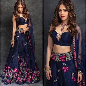 Party Wear Navy Blue Color Embroidered Semi Stitched Lahenga Choli