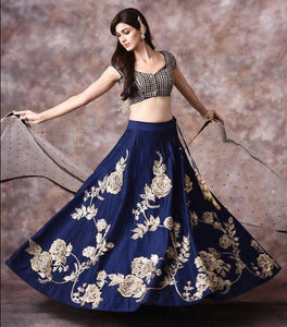 Outstanding Blue Color Embroidered Semi Stitched Lahenga Choli