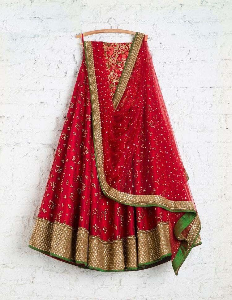 New Desigen Red Color Embroidered Semi Stitched Lahenga Choli
