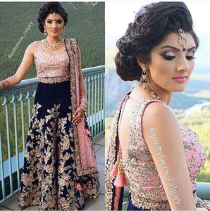 Wedding Wear Navy Blue Color Embroidered Semi Stitched Lahenga Choli