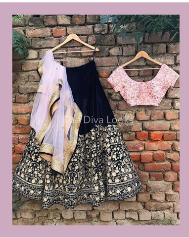 Beautiful Navy Blue Color Embroidered Semi Stitched Lahenga Choli