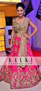 Gorgeous Party Wear Pink Color Embroidered Semi Stitched Lahenga Choli