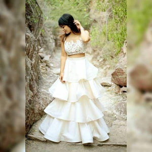 Awsome Party Wear White Color Embroidered Semi-stitched Party wear Lehenga Choli