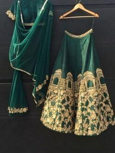 Party Wear Green Color Embroidered Semi-stitched Party wear Lehenga Choli
