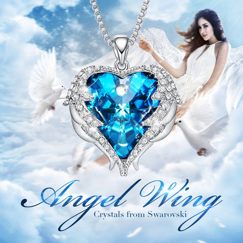 Angel Wing Heart Swarovski Crystal Necklace