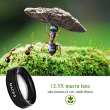 2 Functions Mobile Phone Lens 0.45X Wide Angle Len & 12.5X Macro HD Camera Lens Universal for iPhone Android Phone