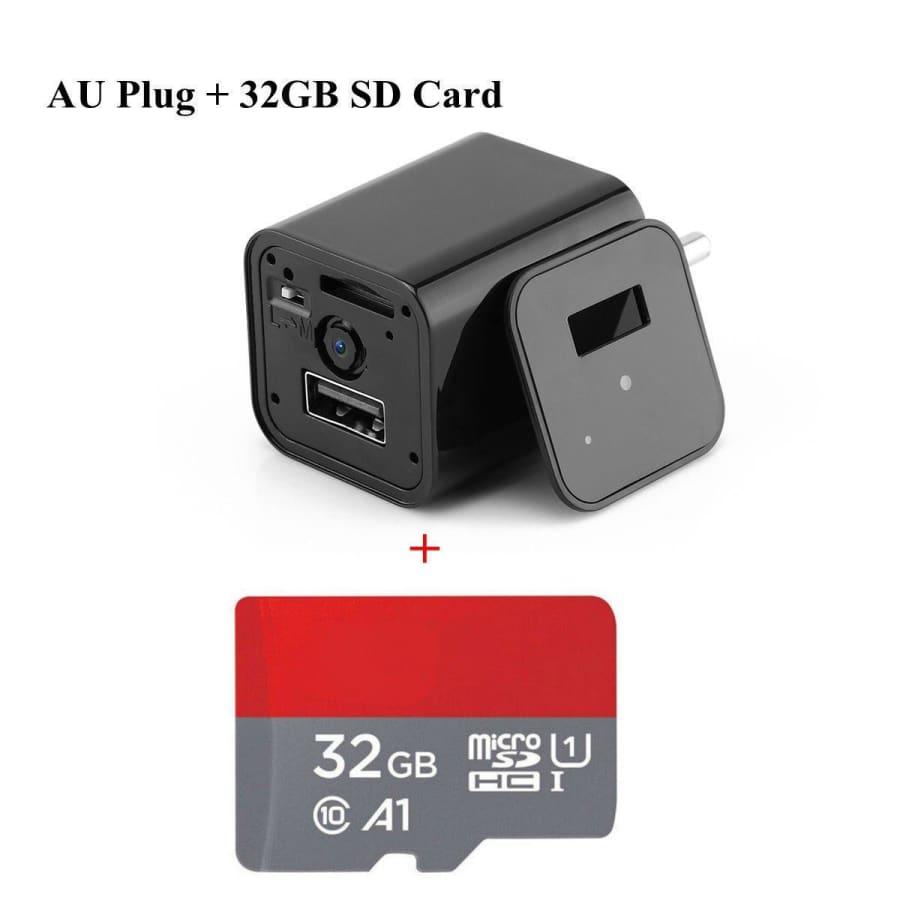 HD 1080P Hidden Camera USB Wall Charger - AU Plug / 32 GB - camera