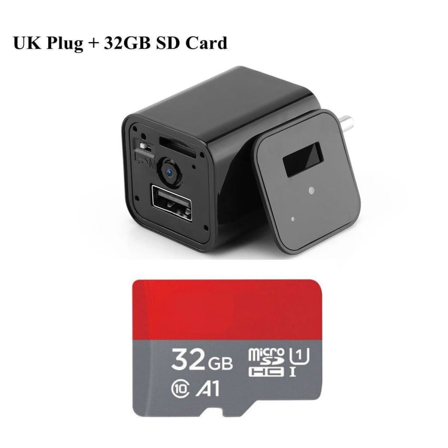 HD 1080P Hidden Camera USB Wall Charger - UK Plug / 32 GB - camera