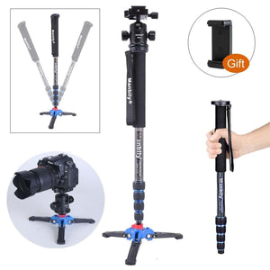 Manbily C-222 Carbon fiber Portable Professional DSLR Camera Monopod & M1 Tripod Base & KB-0 Aluminum Tripod Ball Head Max:65