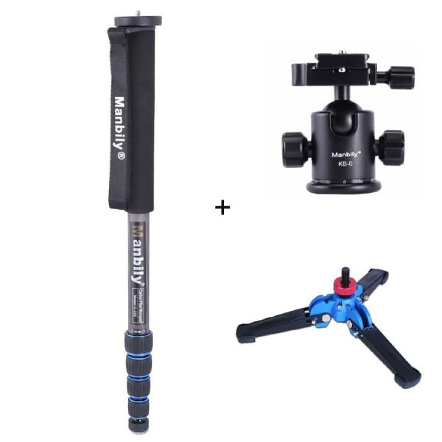 Manbily C-222 Carbon fiber Portable Professional DSLR Camera Monopod & M1 Tripod Base & KB-0 Aluminum Tripod Ball Head Max:65 - C-222 with