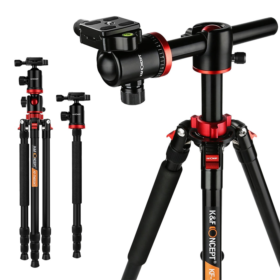 K&F CONCEPT Professional Portable Tripod Aluminum Alloy Travel Tripod Monopod for Digital Video for Canon for Nikon for Cameras