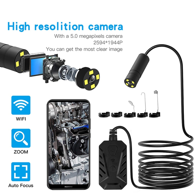Zoom Lens Wifi Endoscope Camera Inspection Camera Borescope Probe Video Inspection for Android/iOS Phone Hd Hard Wire Tube Cam