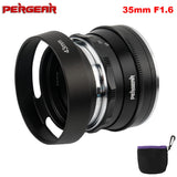 Pergear 35mm F1.6 Manual Focus Prime Fixed Lens for Sony E-Mount for Fuji Cameras A6300 A6500 A7 A7II A7RII X-A2 XT3 X-T1 X-T30