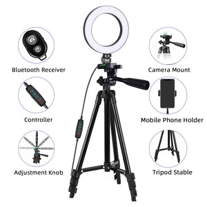 LED Selfie Ring Light With Tripod Photographic Lighting With Lamp Light Ring To Make For Mobile Youtube Tripod For Phone