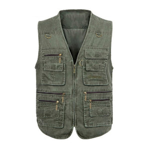 ZOGAA Men Baggy Jacket Tactical Vest Men Multi-pockets Photography Cameraman Vest Plus Size 6XL 7XL Men Casual Reporter Vest