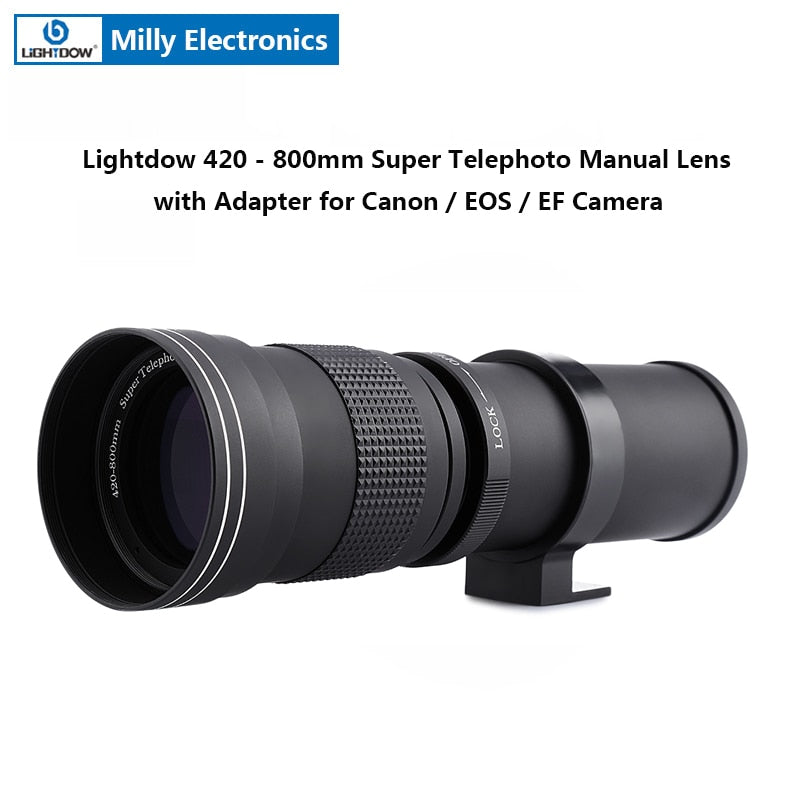 Lightdow 420 - 800MM F/8.3 - 16 Super Telephoto Manual Zoom Lens with Adapter for Canon EOS EF Camera