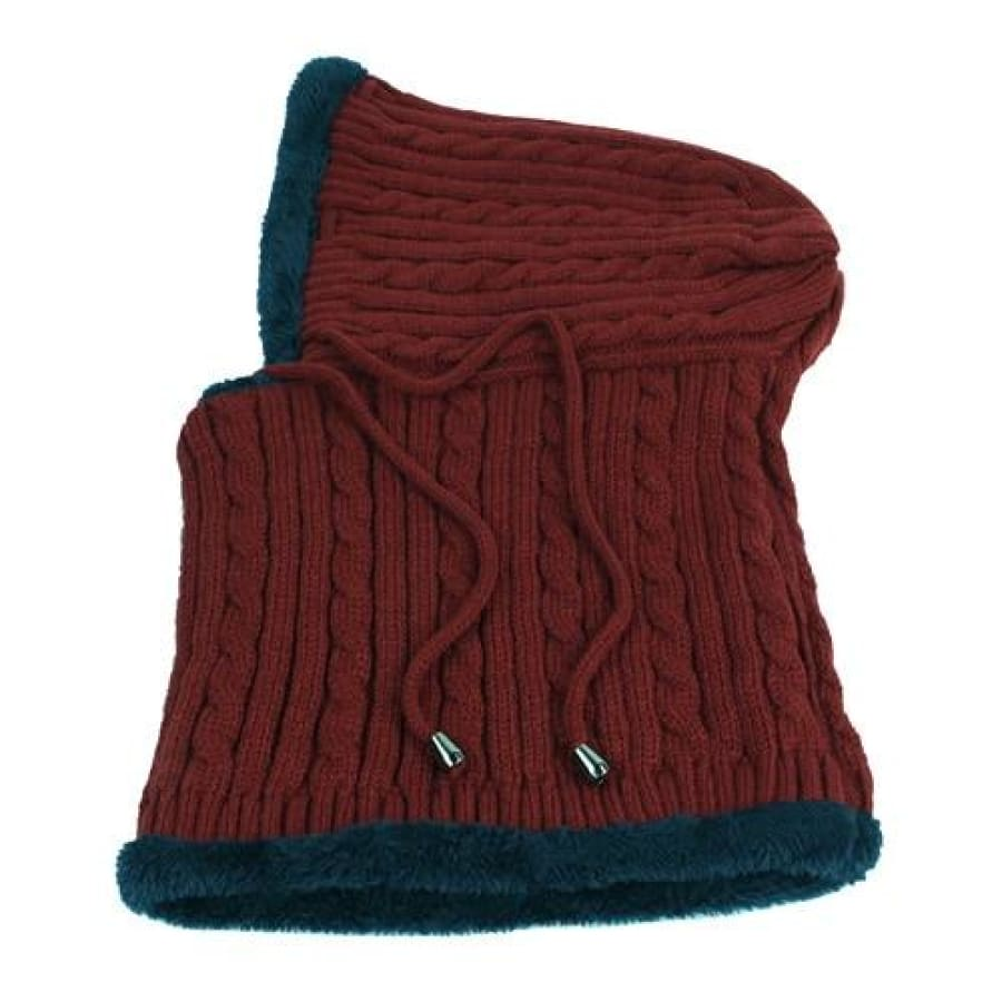 Unisex Winter Hat and Scarf Special Edition - wine red - winter
