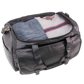 highland series Sports Duffel Bag, opened showing clothing