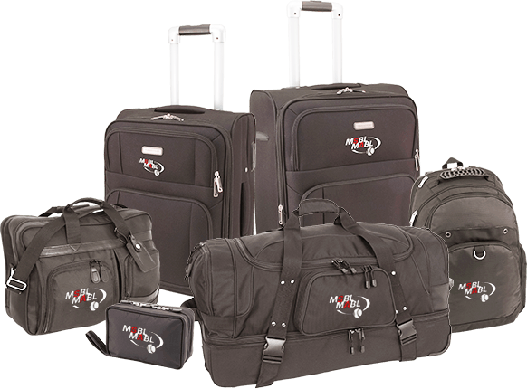 group of mercury luggage bags with embroidered logos