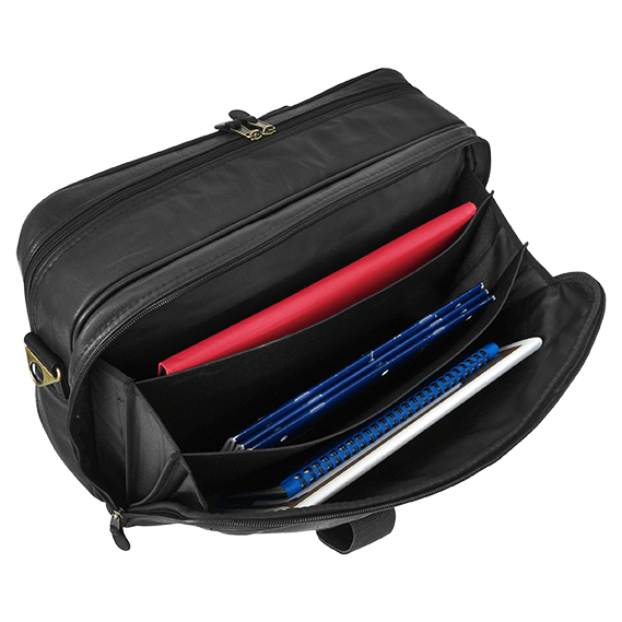 highland series garment bag, opened showing items inside