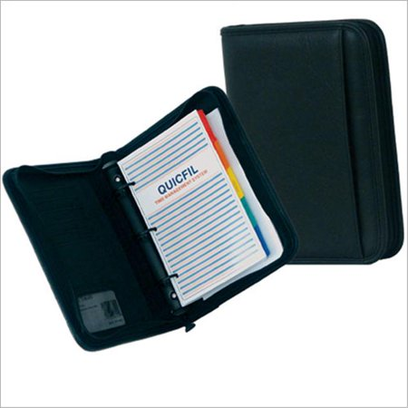 Large Black Simulated Leather Planner with planner pages, dividers and organization pockets