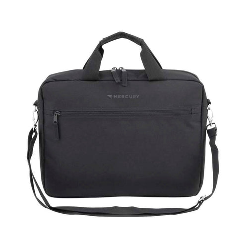 Front of Simple Messenger Bag with top carry handles, detachable shoulder strap and front zippered pocket