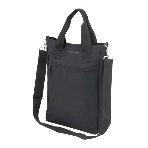 Right Angle of Simple Tote Bag with top carry handles, detachable shoulder strap and front zippered pocket