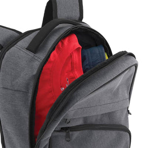 Open Main Compartment with Clothes inside of Pro Series Everyday Backpack, Gray