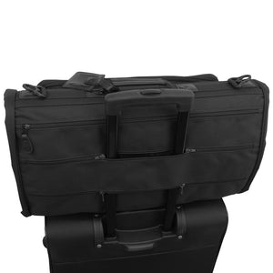 Garment bag attached to suitcase telescopic handle - Tri-Fold Garment Bag
