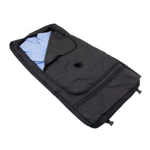 Opened main compartment showing nice dress shirt - Tri-Fold Garment Bag