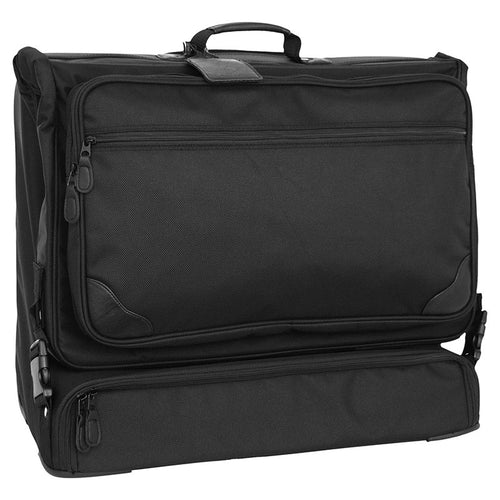 Front view showing multiple zippered pockets - Wheeled Garment Bag
