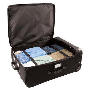 "Opened main compartment with 4 stacks of clothes and elastic bands for securing contents - 27"" Wheeled Upright, Black"