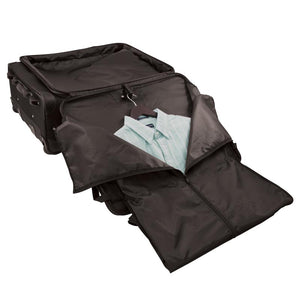 "Opened front zippered pocket with built in garment bag, showing button down shirt neatly hanging in bag - 27"" Wheeled Upright, Black"