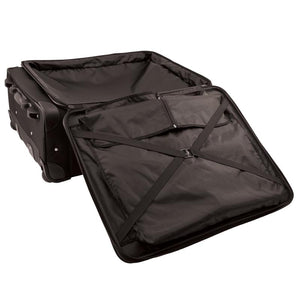 "Opened front pocket showing interior pocket and elastic strap for securing items - 27"" Wheeled Upright, Black"