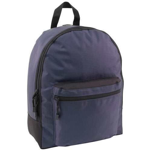 front view showing main zippered compartment and side zippered compartment - Backpack, Navy