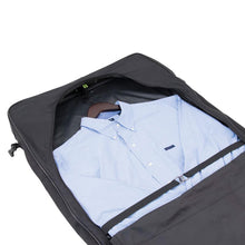 "Load image into Gallery viewer, Opened main compartment with dress shirt hanging neatly inside - 46"" Garment Bag, Black"