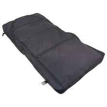 "Load image into Gallery viewer, Unfolded showing two zippers - 46"" Garment Bag, Black"