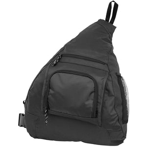 Front view showing zippered pockets - Coronado Sling Bag, Black