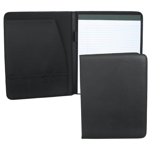 Black Simulated Padfolio with organization pocket, pen loop and notepad