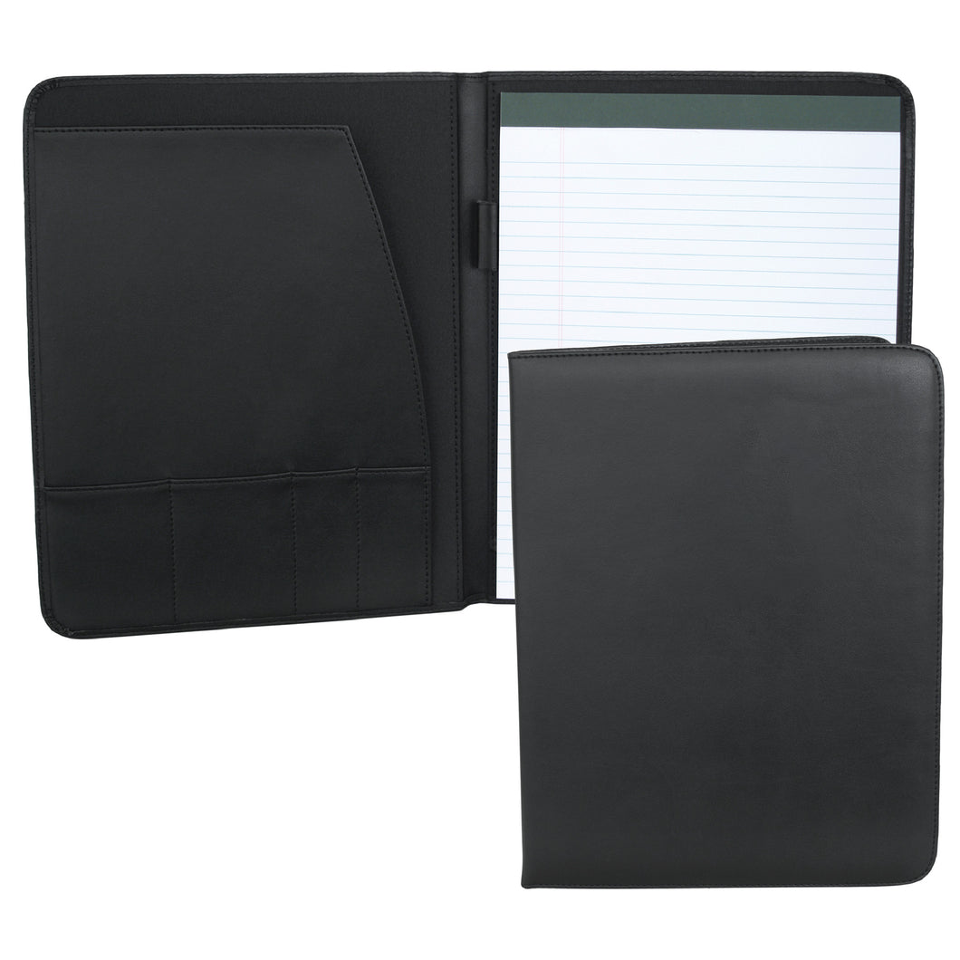 Padfolio- Black Simulated Leather