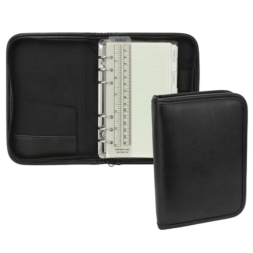 Small Black Simulated Leather Planner with organization pocket, 6-inch ruler and planner pages