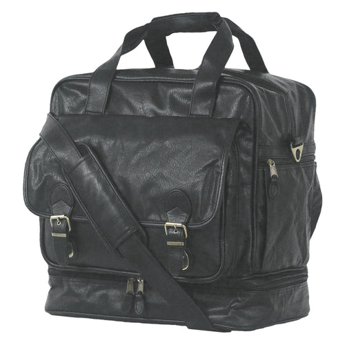 Right angle of simulated leather Carry-All Locker Bag with multiple pockets and metal buckles, Black